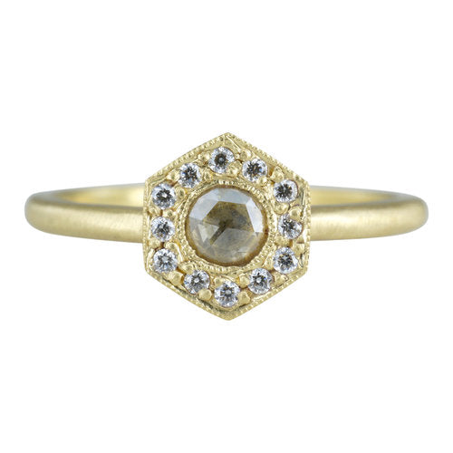 18K Leona Diamond Halo Hex Ring - KESTREL