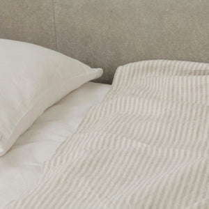 Linen Blanket - White + Natural Stripe