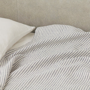 Linen Blanket - White + Navy Stripe - KESTREL