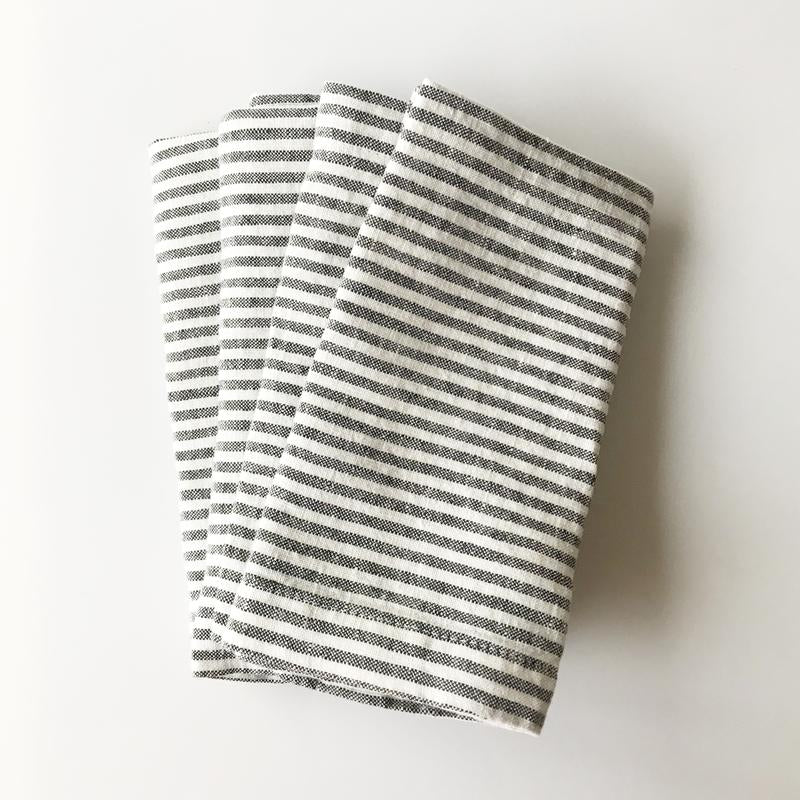 Linen Napkins - Set/2 - Thin Black Stripes