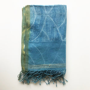 Light Indigo Naturally Dyed Scarf - KESTREL