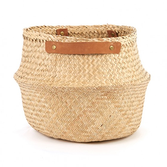 Large Leather Belly Basket - Natural