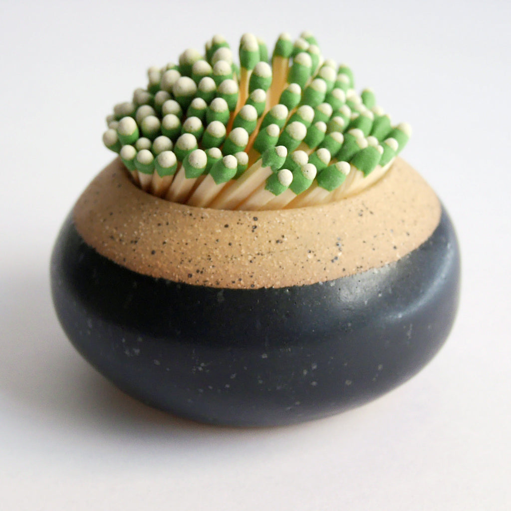 ceramic match striker black glaze
