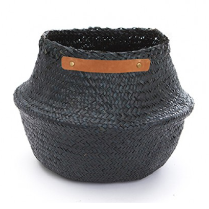 Medium Leather Belly Basket - Black