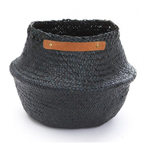 Medium Leather Belly Basket - Black - KESTREL