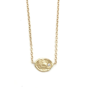 14k Medium Golden Flake w/ Diamond Necklace