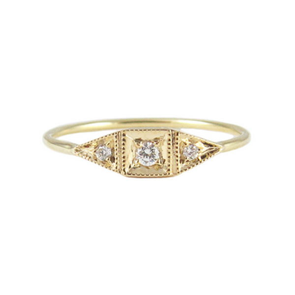 "14K Mini ""Deco Point"" Ring"