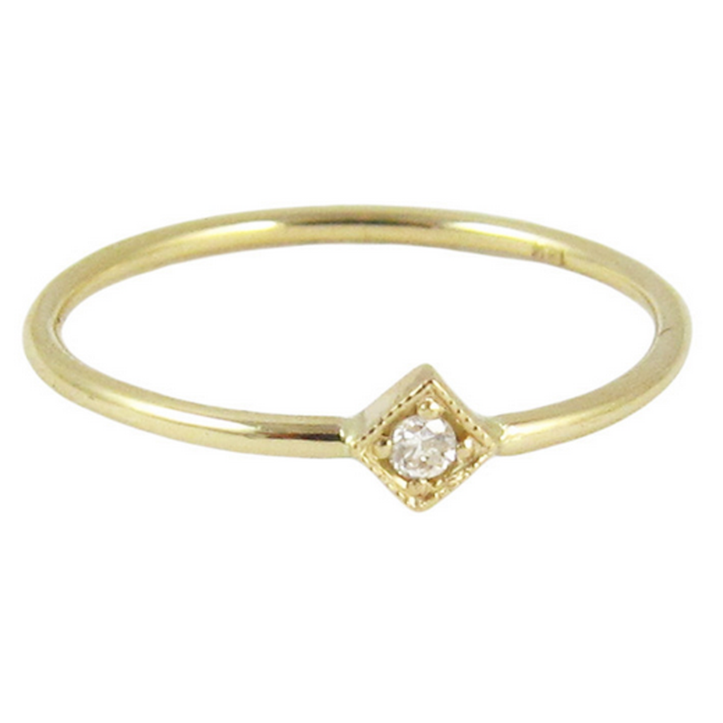 14K Diamond Mini Square Ring - KESTREL