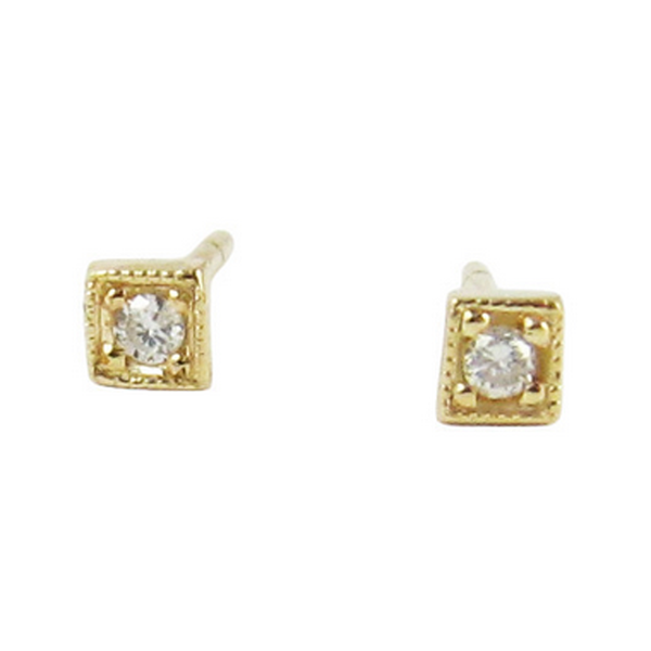 14K Mini Diamond Square Studs