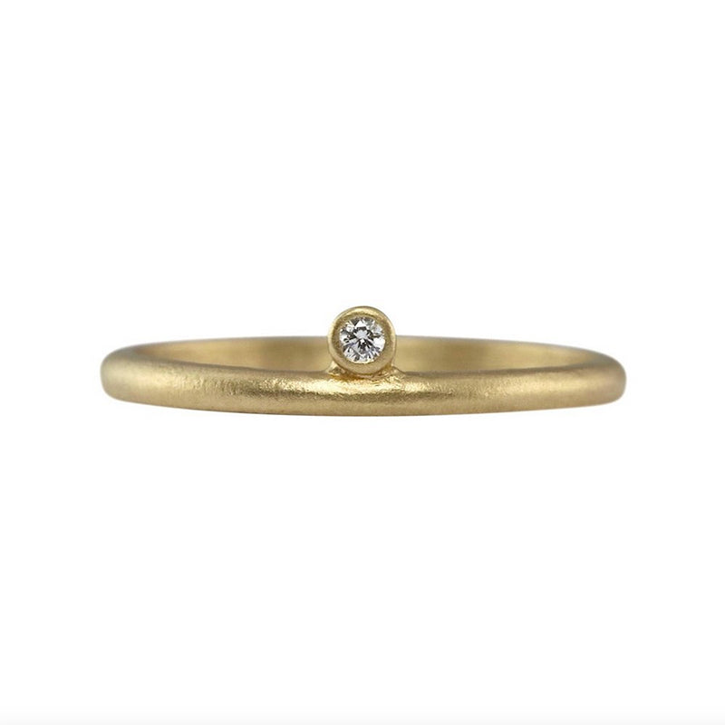 14K Modern One Diamond Stacking Ring - SALE FINAL
