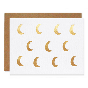 Metallic Gold Foil Moons Card