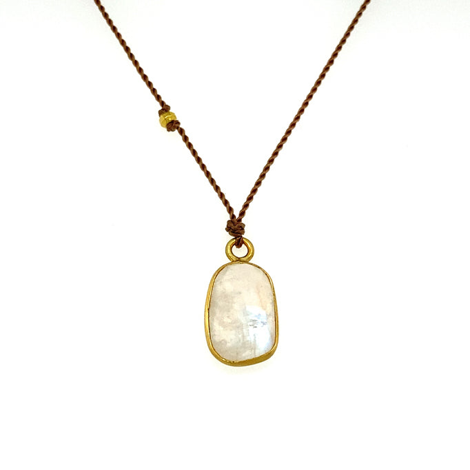 Rainbow Moonstone Bezel Necklace