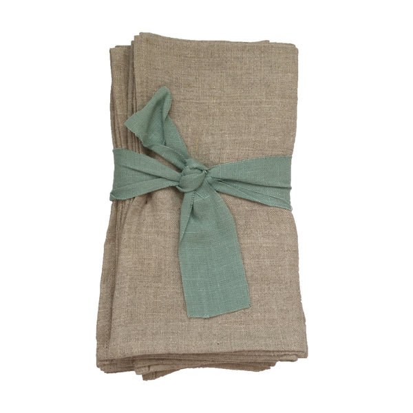 Set of 4 Linen Napkins in Natural Beige