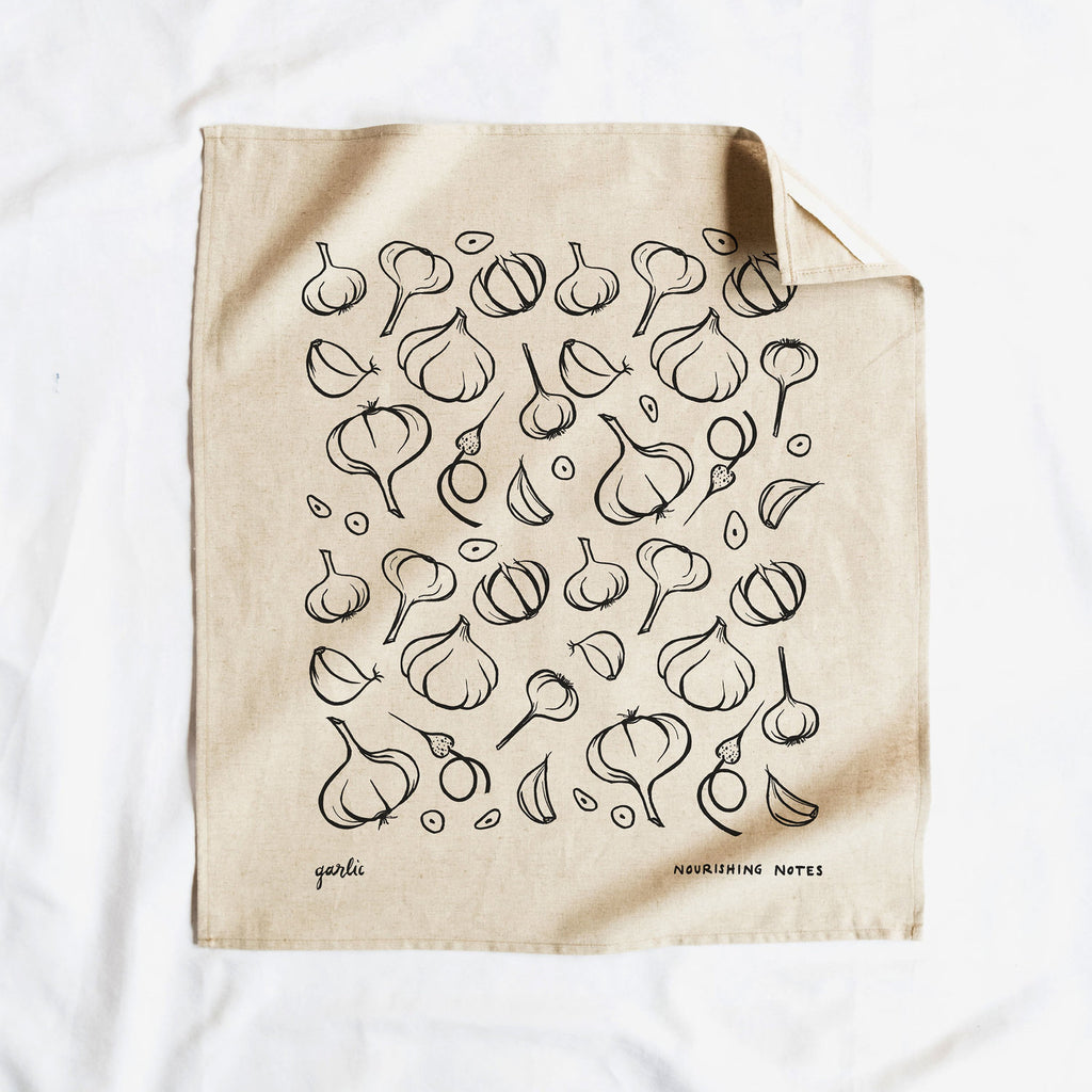 Cotton/Linen Blend Screen-Printed Tea Towel, Garlic Print