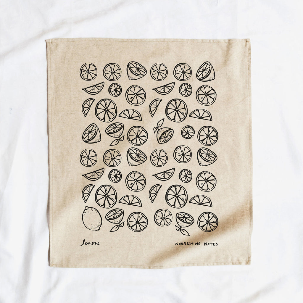 Cotton/Linen Blend Screen-Printed Tea Towel, Lemon Print