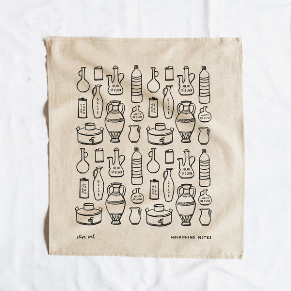 Cotton/Linen Blend Screen-Printed Tea Towel, Olive Oil Print