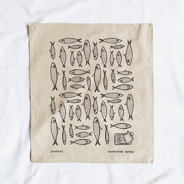 Cotton/Linen Blend Screen-Printed Tea Towel, Sardines Print