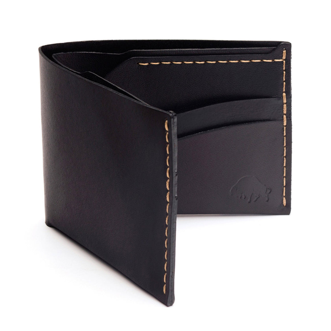 No. 6 Wallet - Black w/ Top Stitch