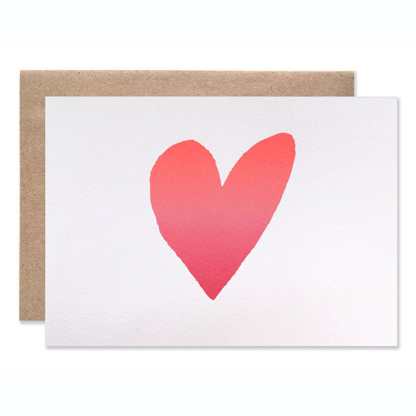 Ombre Pink Heart Blank Card