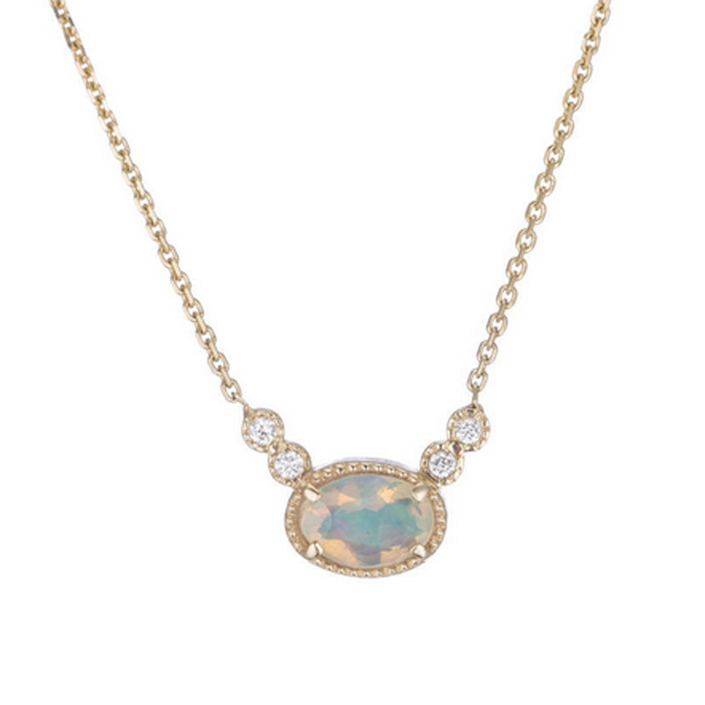 14K Opal Diamond Dew Necklace