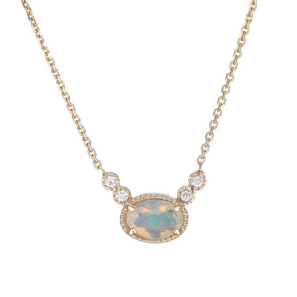 14K Opal Diamond Dew Necklace - KESTREL