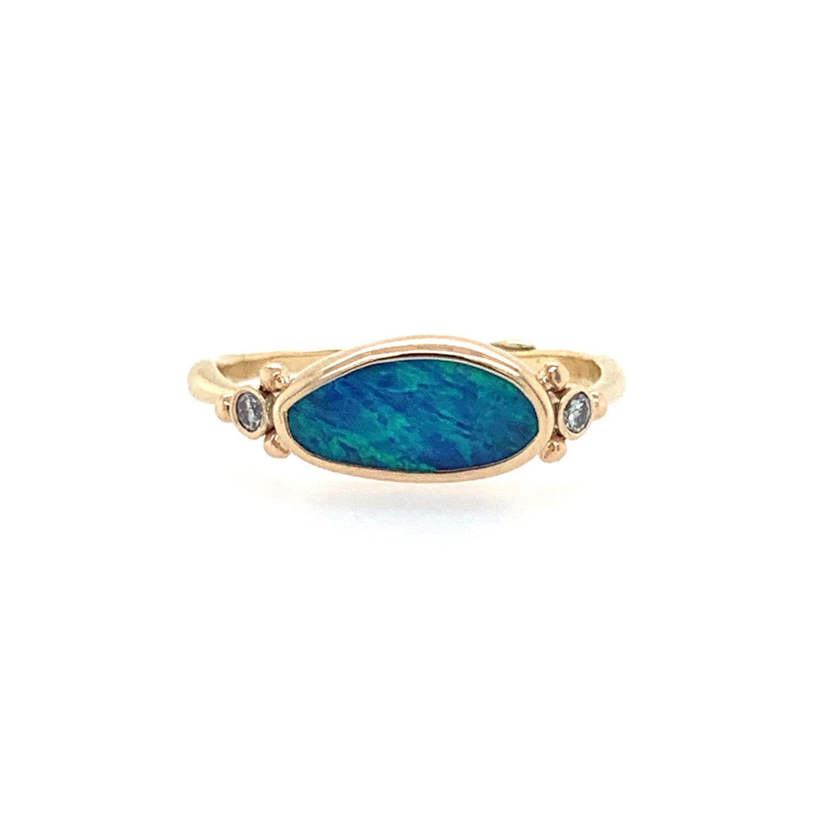14K Blue Opal Doublet Ring w/ Side Diamonds