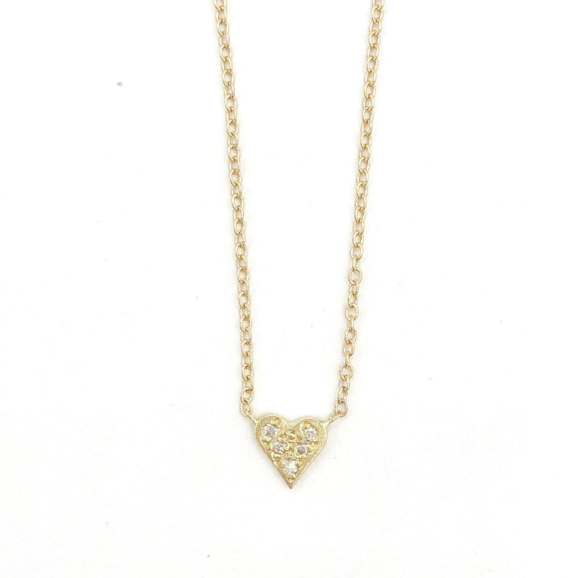 14k Tiny Pave Heart Necklace