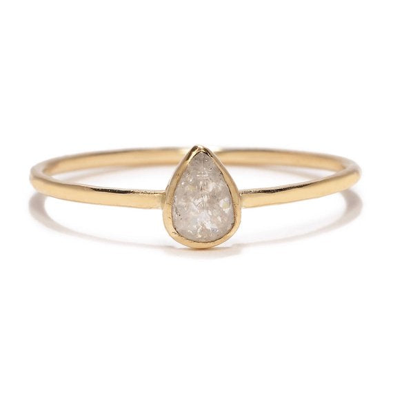Rosecut Pear Shaped Diamond Ring - KESTREL
