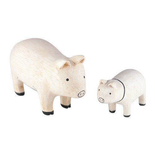 Tiny Wooden Pig Set