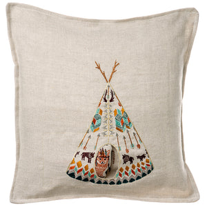Embroidered Linen Fox Tipi Pocket Pillow