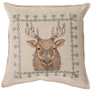 Embroidered Linen Elk Portrait Pillow