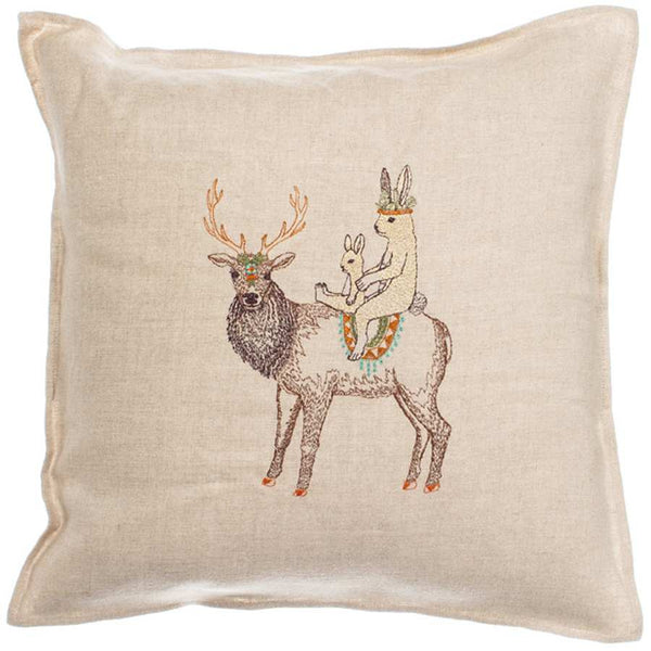 Embroidered Linen Keeper Pillow with Elk and Bunnies