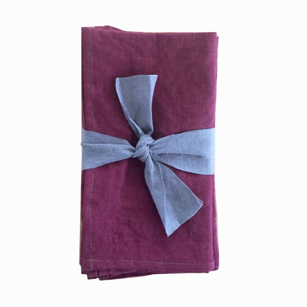 Set of 4 Linen Napkins in Plum Purple