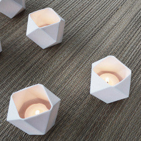 Faceted White Tealight Votive