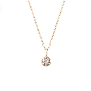 14K White Diamond Prong Necklace - KESTREL