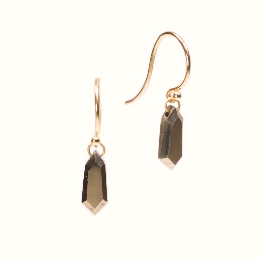 14k Large Pyrite Shield Drops