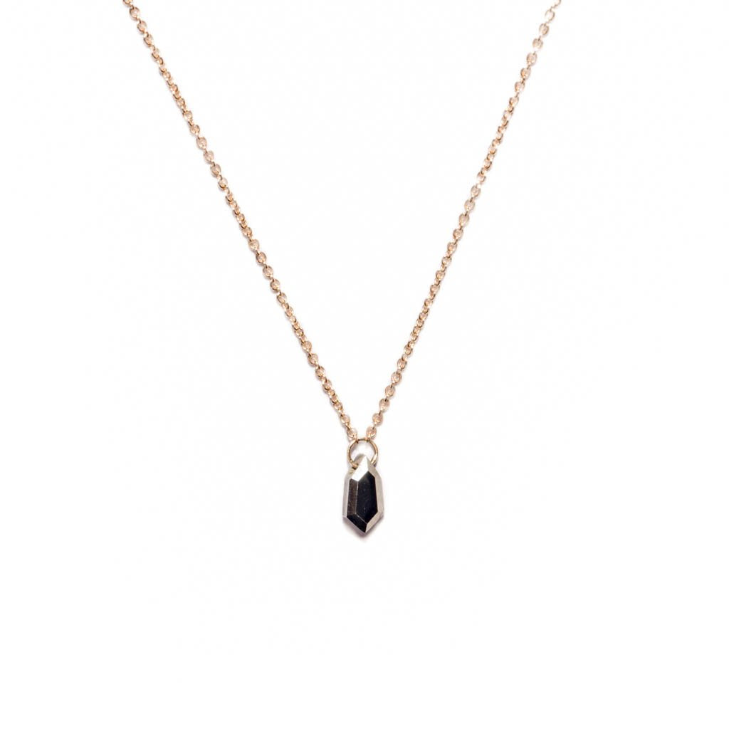 14k Small Pyrite Shield Necklace