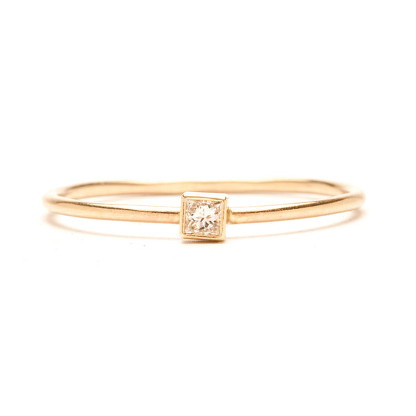 14K Square Diamond Ring