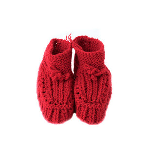 Knitted Baby Booties : Red
