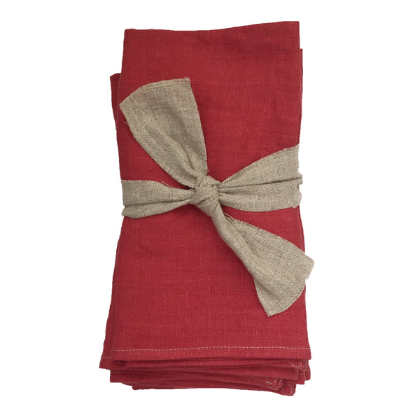 Set of 4 Linen Napkins in English Rose Red Pink