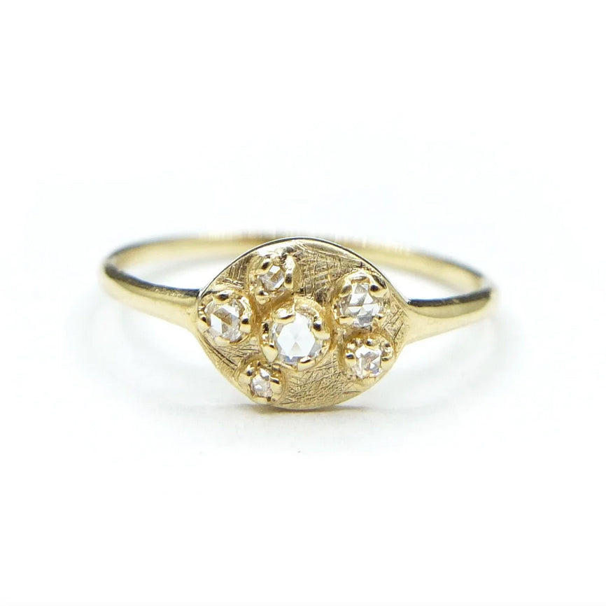 Shield Ring w/ Rose Cut Diamonds