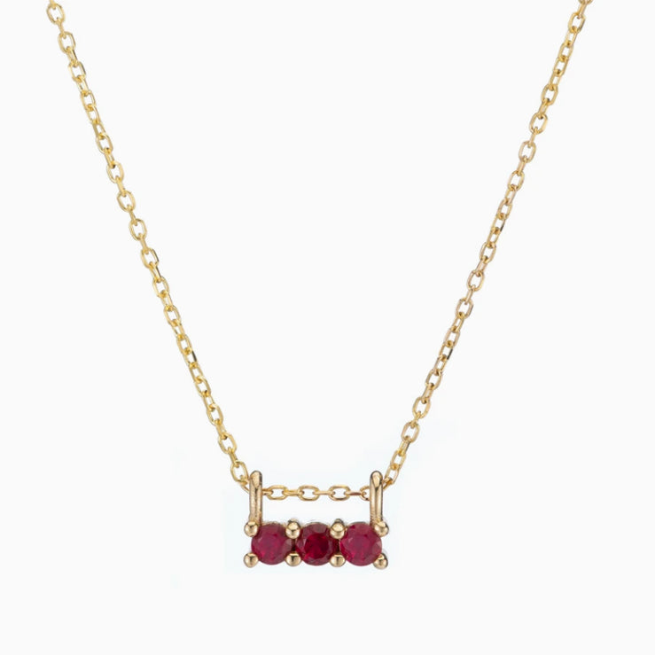 14k Ruby 3 Stone Necklace