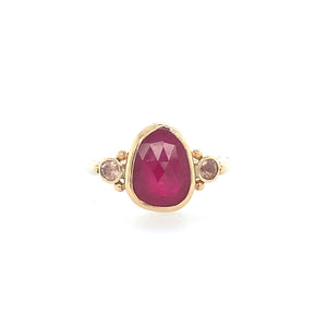 Ruby Ring with Side Sunstones