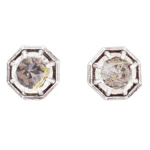Octagonal Rutilated Quartz Studs - KESTREL