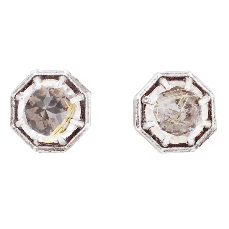 Octagonal Rutilated Quartz Studs