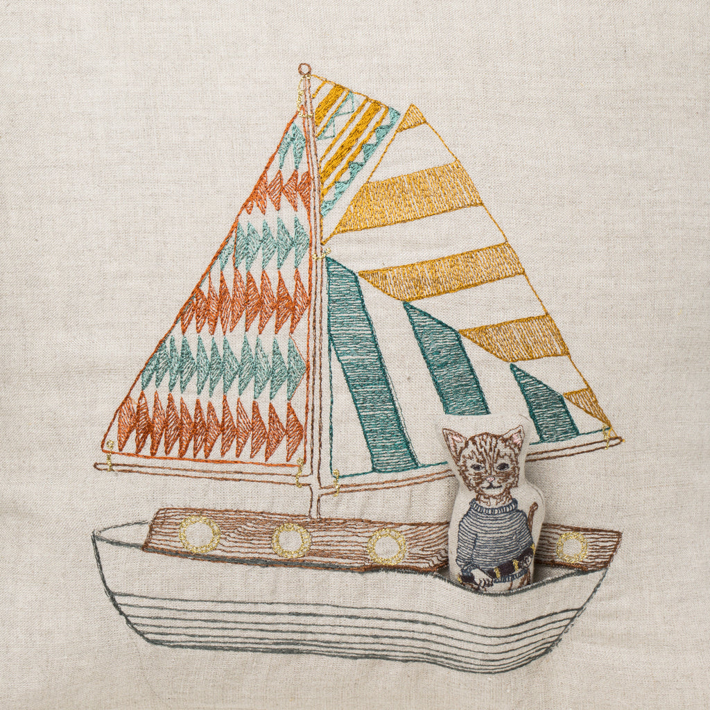 Embroidered Linen Sailboat Pocket Pillow