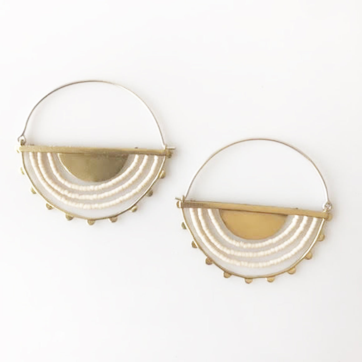 Hemisphere Brass + Cream Beaded Hoop - KESTREL