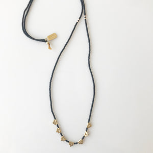 Black Beaded Lucky Loop Necklace