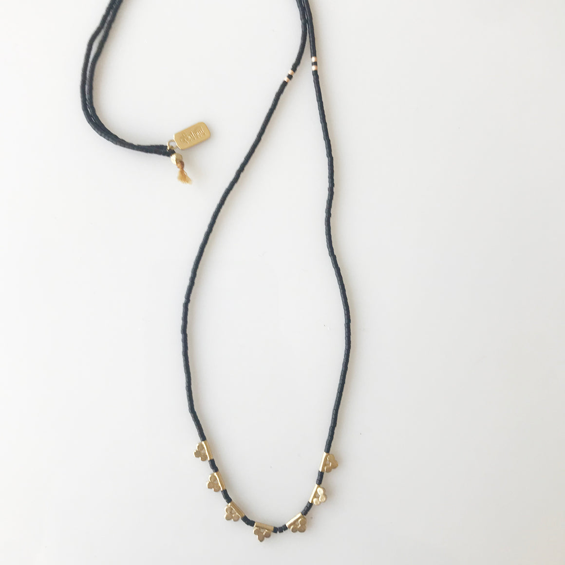 Brass Lucky Loop - 3 Dot necklace - Black - KESTREL