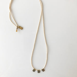 Cream Beaded Necklace w/ Brass Flag - KESTREL